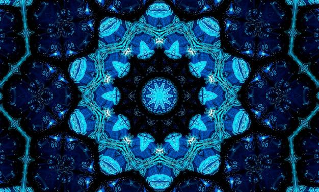 Niebieski granatowy kalejdoskop wzór streszczenie tło. wzór koła. streszczenie fraktal kalejdoskop tła. streszczenie fraktal wzór geometryczny symetryczny ornament. kalejdoskop niebieski wzór.