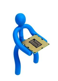 Niebieski gumowy człowiek utrzymuje procesor na białym tle