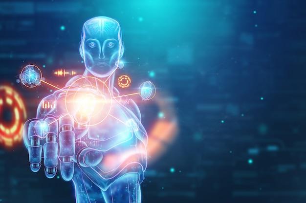 Niebieski hologram robota, cyborga, sztucznej inteligencji na niebieskim tle
