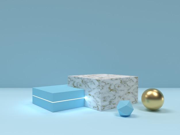 Niebieski i marmur tekstury podium streszczenie minimalne sceny.