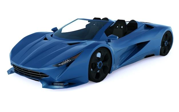 Niebieski kabriolet sportowy konceptualny do jazdy po mieście i torze wyścigowym na białej powierzchni