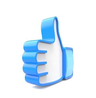 Niebieski Kciuk 3d Na Białym Tle Premium Zdjęcia