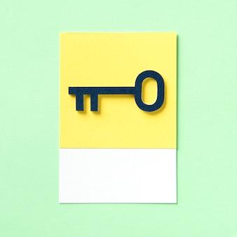 Niebieski klucz obiektu jako ikona bezpieczeństwa