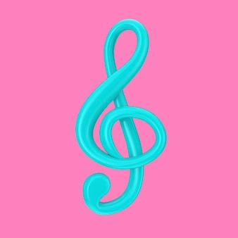 Niebieski klucz wiolinowy w stylu duotone na różowym tle. renderowanie 3d