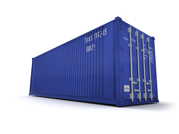 Niebieski kontener ładunkowy na białej powierzchni