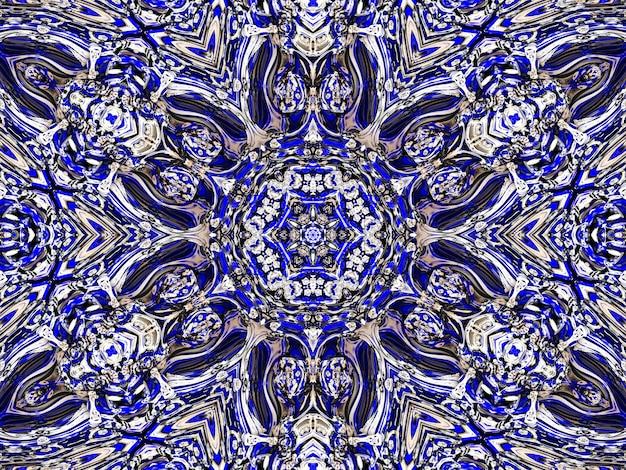 Niebieski kwiatowy wzór w rosyjskim tle gzhel