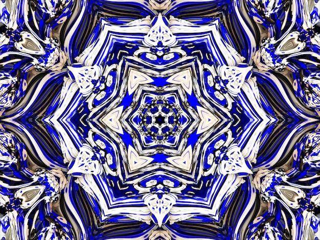 Niebieski kwiatowy wzór w tle rosyjski gzhel.