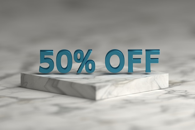 Niebieski metaliczny błyszczący 50 procent znak tekstu. wyprzedaż 50% zniżki na numery i tekst na marmurowym postumencie.