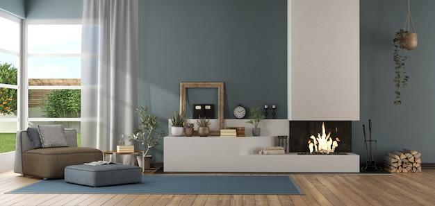 Niebieski nowoczesny salon z kominkiem