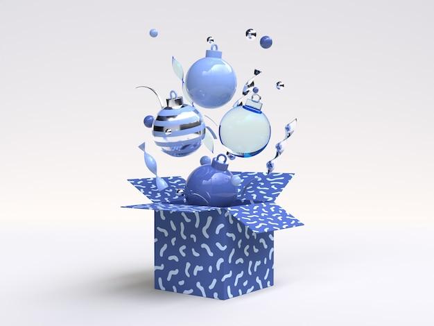Niebieski obiekt ozdoba christmas renderowania 3d