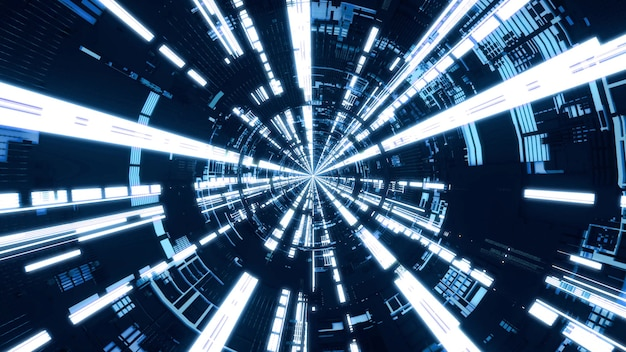 Niebieski okrągły tunel. latanie do tunelu statku kosmicznego, korytarz statku kosmicznego sci-fi, renderowanie 3d