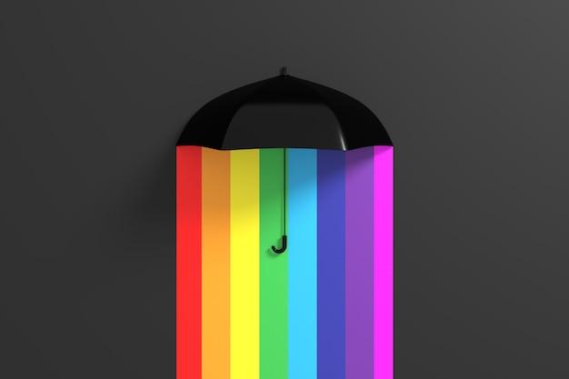 Niebieski parasol unoszący się na kolorowym kolorze