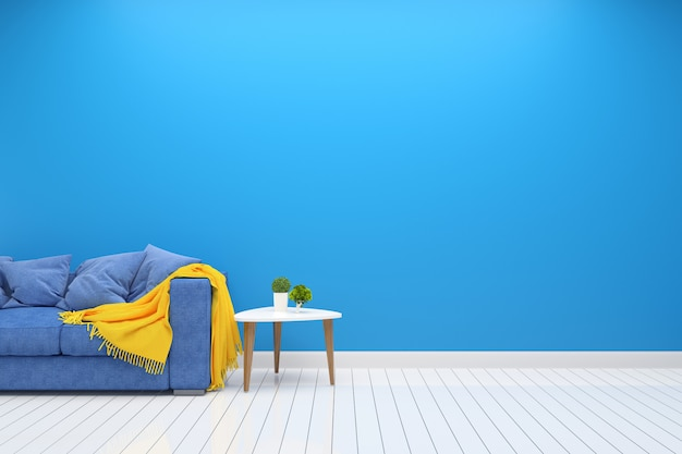 Niebieski pastelowe ściany wnętrza salon sofa tło szablonu