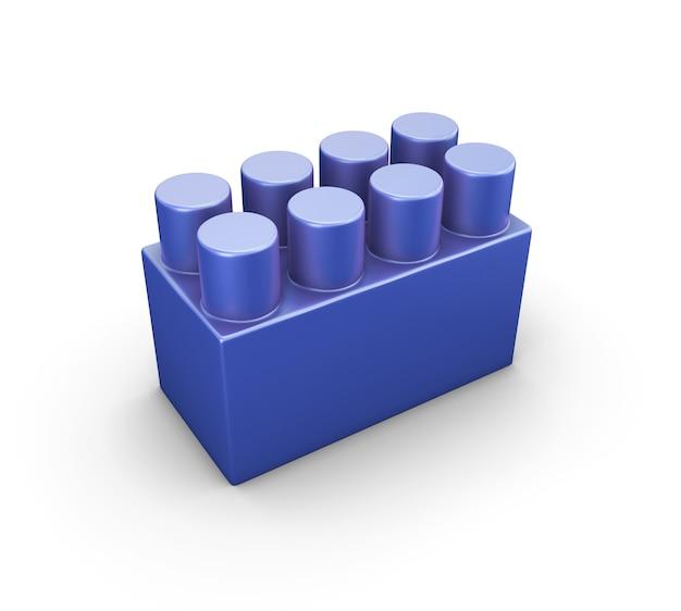 Niebieski plastikowy element konstrukcyjny dla dzieci na białym tle