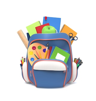 Niebieski plecak szkolny z długopisami i zeszytami na białym tle