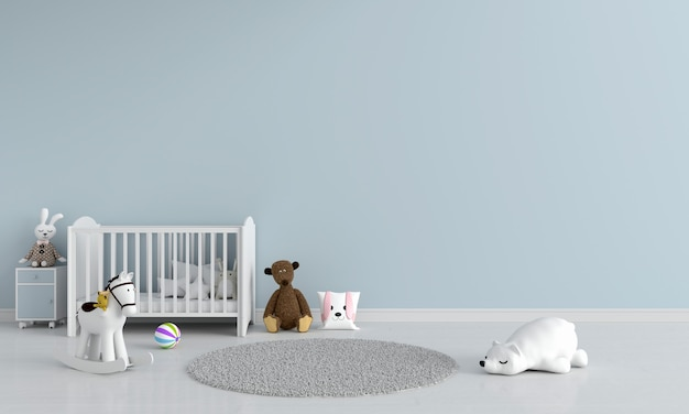 Niebieski pokój dziecięcy z miejscem na kopię