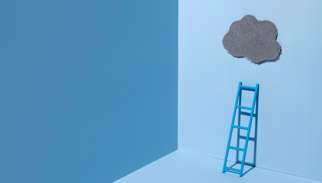 Niebieski poniedziałek z drabiną i chmurą
