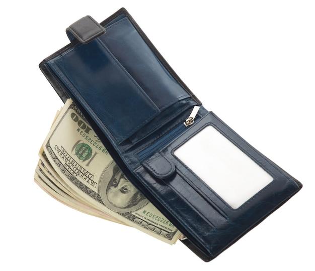 Niebieski portfel na białym tle