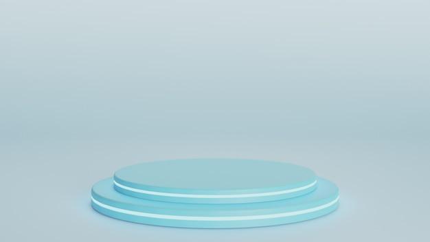 Niebieski postument do wyświetlania na szarym tle