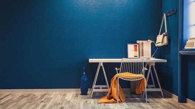 Niebieski projekt pokoju biurowego.