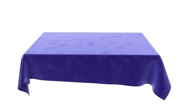 Niebieski prostokątny obrus welurowy do stołu na białym tle