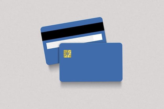 Niebieski przód i tył karty kredytowej na białym tle
