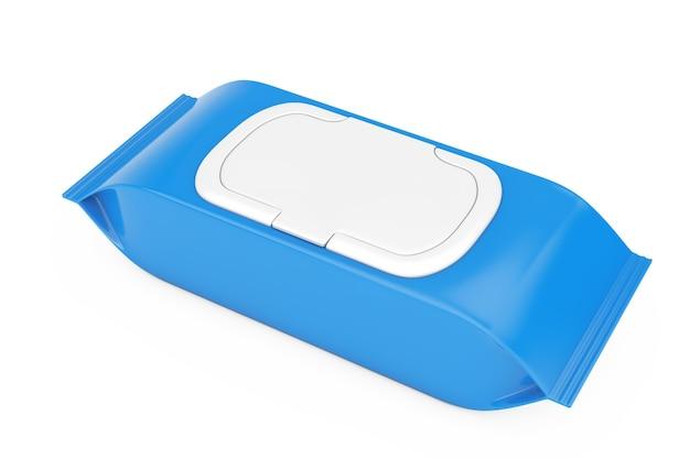 Niebieski puste opakowanie papierowe chusteczki nawilżane woreczek na białym tle. renderowanie 3d