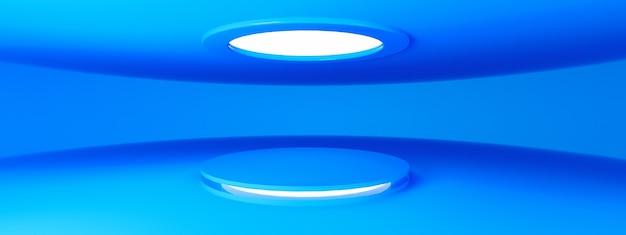 Niebieski pusty nowoczesny salon wystawowy z pustym cokołem i oświetleniem led, do wyświetlania produktu, renderowania 3d, układu panoramicznego