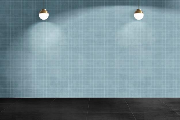 Niebieski pusty pokój autentyczny wystrój wnętrz