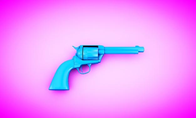 Niebieski rewolwer na różowym tle, renderowania 3d. kreatywna koncepcja