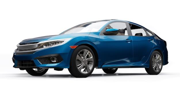 Niebieski rodzinny sedan średniej wielkości na białym jednolitym tle. renderowania 3d.