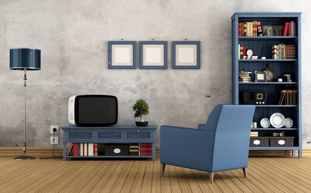 Niebieski salon vintage