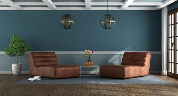 Niebieski salon z salonami pościgowymi