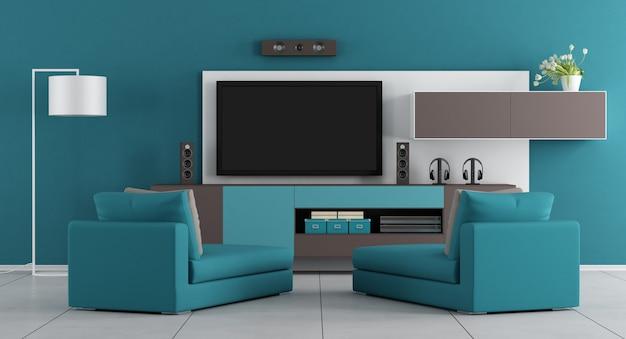 Niebieski salon z telewizorem