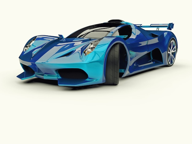 Niebieski samochód wyścigowy renderowania 3d