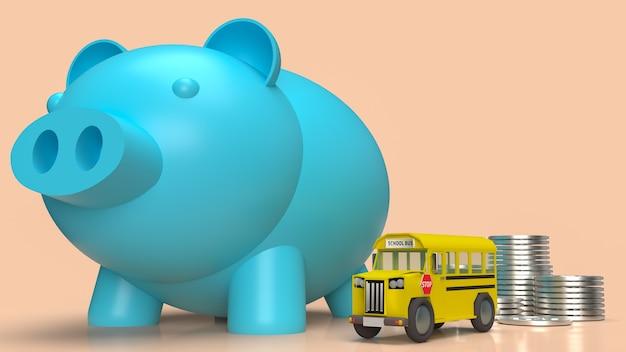 Niebieski skarbonka i autobus szkolny na plan pieniężny do koncepcji edukacji renderowania 3d