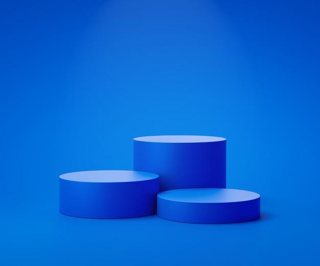 Niebieski stojak na produkty lub cokół na podium