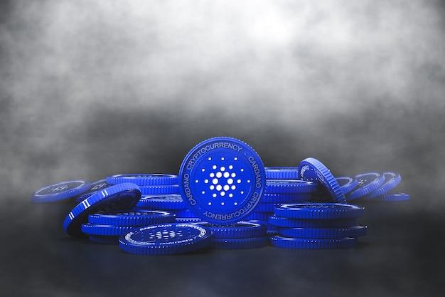 Niebieski stos monet cardano (ada) w zimnym kaszlu. dla rynku kryptowalut, promowanie wymiany tokenów. renderowanie 3d