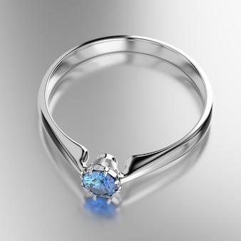 Niebieski szafirowy diament umieszczony na błyszczącym tle