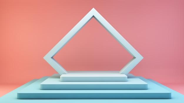 Niebieski wyświetlacz platformy na różowym tle