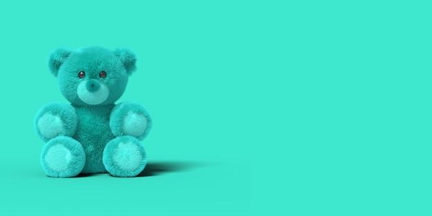 Niebieski zabawka miś siedzi na podłodze na niebieskim tle. abstrakcyjny obraz. minimalna koncepcja zabawek biznesowych. renderowania 3d.