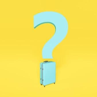 Niebieski znak zapytania z walizką w kształcie kropki. podróż koncepcyjna, nowa normalność. żółte tło. renderowanie 3d