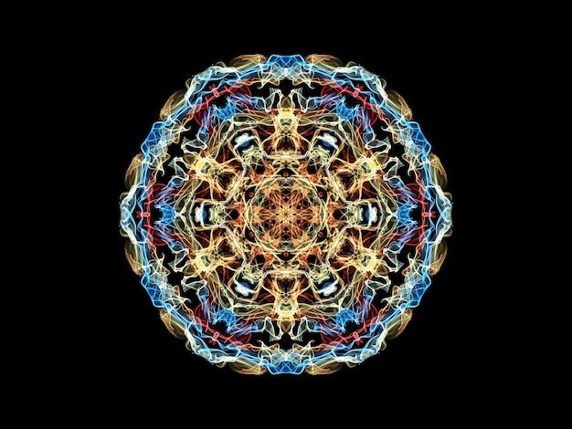 Niebieski, żółty i czerwony abstrakcyjny kwiat mandali płomienia, neon ozdobny kwiatowy okrągły wzór na czarno