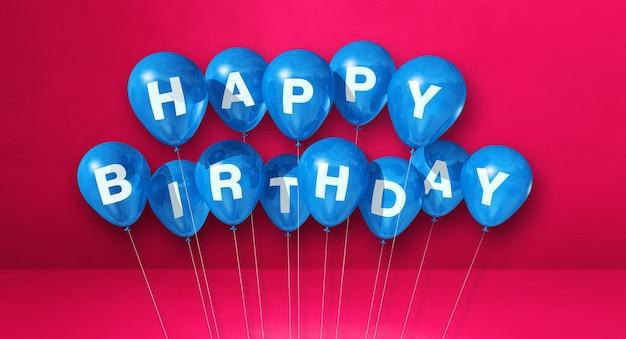 Niebieskie balony z okazji urodzin na różowej scenie ściennej. renderowanie ilustracji 3d