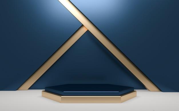 Niebieskie błyszczące podium minimalne geometryczne, abstrakcyjne w ciemnym stylu. renderowanie 3d