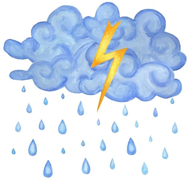 Niebieskie chmury burzowe deszcz i błyskawica ilustracja pogody dla dzieci na białym tle