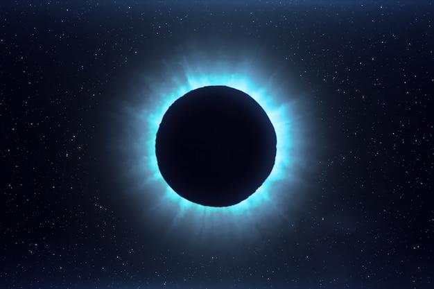 Niebieskie futurystyczne zaćmienie słońca w kosmosie