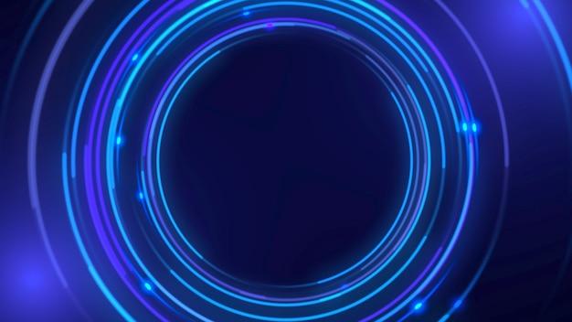 Niebieskie koła wzór, streszczenie tło. elegancki i luksusowy dynamiczny styl neonowy dla biznesu, ilustracja 3d