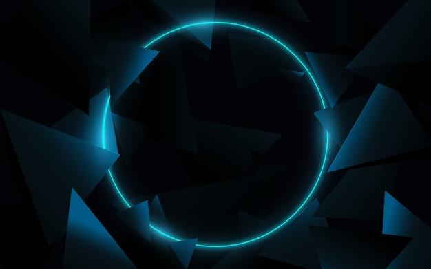 Niebieskie koło z technologią trójkątów 3d hi-tech futurystyczny cyfrowy. streszczenie tło geometryczne. ilustracji wektorowych