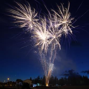 Niebieskie kolorowe fajerwerki na tle nocnego nieba